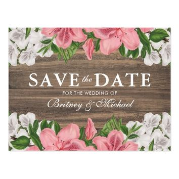Rustic Barn Wood Country Floral Save the Date Postcard