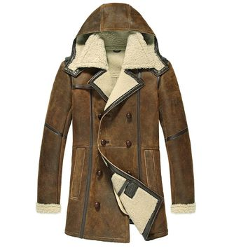 Men's winter casual Berber vintage retro design shearling wool lining  jacket coat with hooded