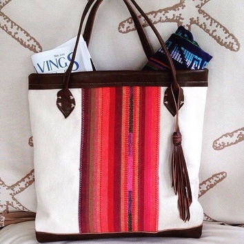 Brown Leather and aztec print tote, beach bag, summer bag, best selling tote