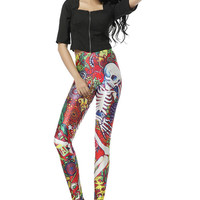 Skulls and Roses Printed Leggings