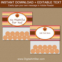PRINTABLE Thanksgiving Treat Bag Topper Template - Thanksgiving Bag Labels - Thanksgiving Favor Bag Labels - Friendsgiving Printables T3