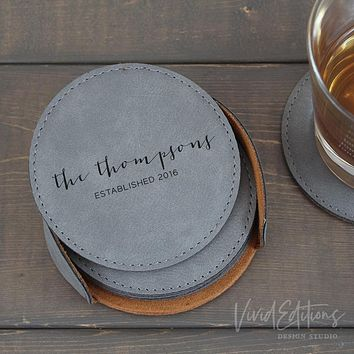 Personalized Round Leather Coaster Set of 6 - Gray CB06