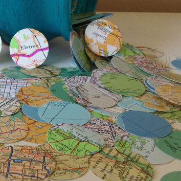 Vintage Atlas Map Wedding Confetti -  Shabby Chic - wedding table decoration, table scatters, bon voyage party, baby shower decoration