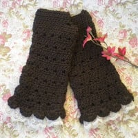 "Crocheted Victorian Fingerless Gloves Alpaca Yarn ""Tea Length"" Dark Brown w Lace Victorian"