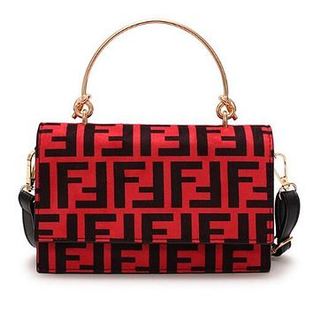 FENDI Fashionable Women Retro Leather Handbag Tote Shoulder Bag Crossbody Satchel Red