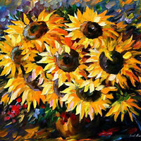 "Sunny Bouquet —  Oil Painting On Canvas By Leonid Afremov - Size:36""x30"""