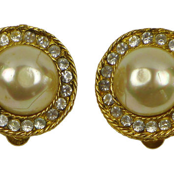 Chanel Faux-Pearl & Rhinestone Earrings