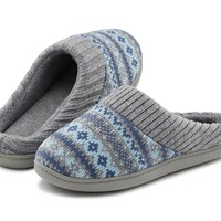 RockDove Women's Memory Foam Comfort House Slippers with Ribbed Hand Knit Collar