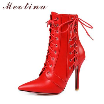 Meotina Women Winter Red Boots High Heel Boots Lace Up Mid-Calf Boots 2017 Pointed Toe Autumn Shoes White Black Big Size 11 46