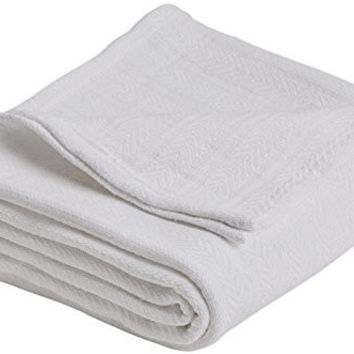 Vellux Cotton Woven Full/Queen Blanket, White