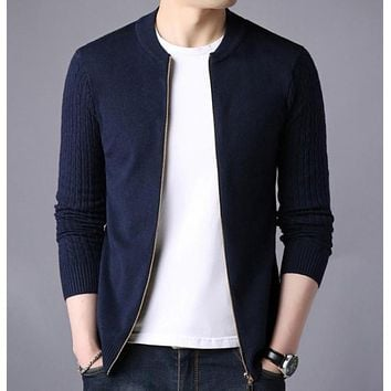 Mens Slim Fit Zip Up Cardigan in Navy Small