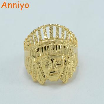 Anniyo Portrait of Indians Ring for Women/Men Gold Color African Jewelry Punk Cool Ring #001611