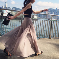 wide leg pants,culottes,slit at side,sexy,fashion,unique,chic,grunge,stripe,for summer.--E0322