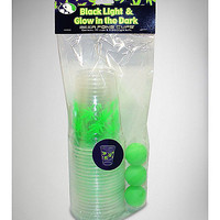 Blacklight and Glow in the Dark Leaf Cups and Beer Pong Ball Set - Spencer's