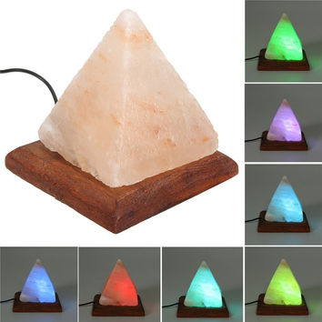 Salt Lamp Table Desk Lamp Night Light Pyramid Crystal Rock Wooden Lamp Bedroom Adornment Home Room Decor Crafts Ornaments Gift