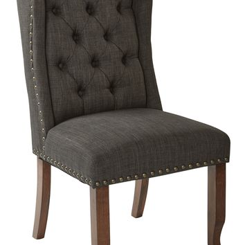 Office Star Charcoal Jessica Tufted Wing Dining Chair