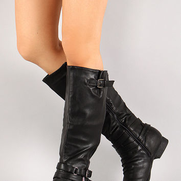 Black Round Toe Riding Knee High Boot