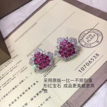 2018 New Bvlgari Red Gemstone Colourful Brick And Stone High End Fashion Jewelry S925 Sterling Silver Earring Cartilage Hoop Stud Drop