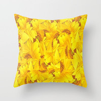 Sunflowers Pillows Floral Print Pillows Yellow Pillows Decorative Pillows with Faux Down Insert Mosaic Flower Pillow Floral Print Pillow