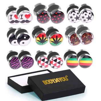 BodyJ4You Fake Plugs Earrings Rasta Yin Yang Skull Stars Stainless Steel Gift Box 18 Pieces