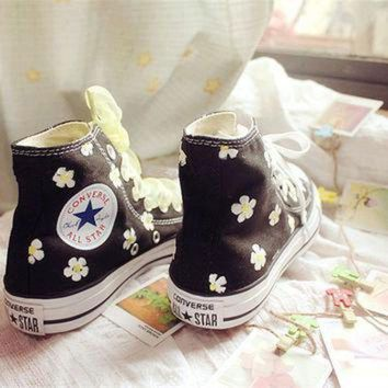 CREYON hand painted shoes converse black background plus white flowers lovely floral