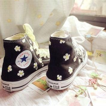 ICIKGQ8 hand painted shoes converse black background plus white flowers lovely floral