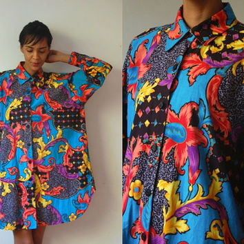 Vtg Colorful Baroque Print Oversize LS Button Down Cotton Shirt
