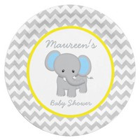Elephant Baby Shower Chevron Paper Party Plate