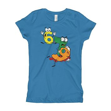 Why was 6 Afraid of 7 Seven Ate Nine Cute Zombie Pun Girl's T-Shirt