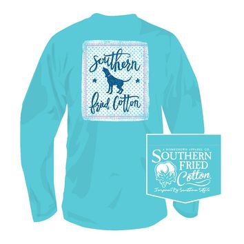 Howl on the Dotted Line Long Sleeve Tee in Robin's Egg by Southern Fried Cotton