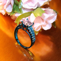 Ultra Modern Sterling Silver Turquoise finished 1.0 carat Pink Cubic zirconia diamond Engagement ring Size 6, Engagement Ring, Anniversary