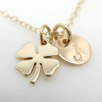 Four Leaf Clover Necklace Gold Shamrock Necklace Gold Filled Necklace Initial Best friend gift Sisterhood birthday gift St Patricks Day gift