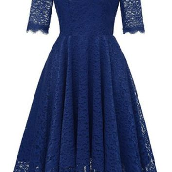 Navy Blue Lace Draped Off Shoulder Backless Elegant Sweet Party Midi Dress