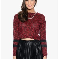 Red Fall For Me Long Sleeve Knit Crop Top | $10.00 | Cheap Trendy Blouses Chic Discount Fashion for