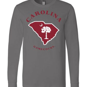 Official NCAA University of South Carolina Fighting Gamecocks USC COCKY SC Map Long Sleeve T-Shirt - UAXSC
