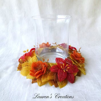 French Beaded Flowers Autumn Table Wreath, candle ring, Fall home decor, centerpiece, vintage seed beads, orange, red, gold, brown