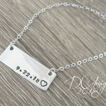 Name Necklace, Custom Necklace, Engraved Necklace, Sterling Silver Bar Necklace, Gifts for Her, Minimal Jewelry, Christmas Gift