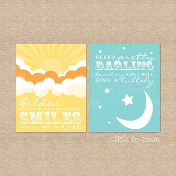Golden Slumbers Quote by The Beatles Set of Two by PaperRamma