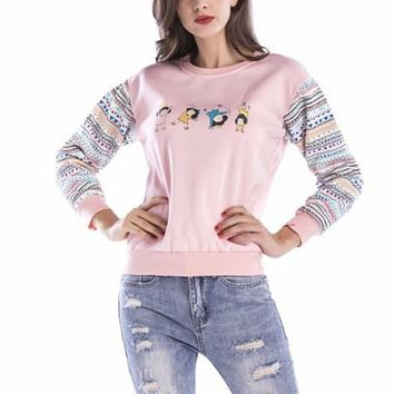 [15555] Printed Pastel Color Sweatshirt