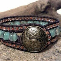 Copper Surprise, Leather Cuff Bracelet, Beaded Cuff, Boho, Shabby Chic, Chan Luu Inspired