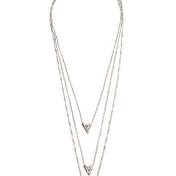 Power Of Three Layered Necklace - Silver