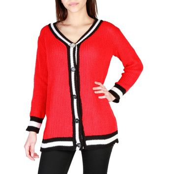 Miss Red V-Neck Sleeves Sweater