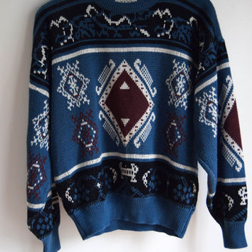Blue Tribal Sweater for Men and Women by Sears Size Large