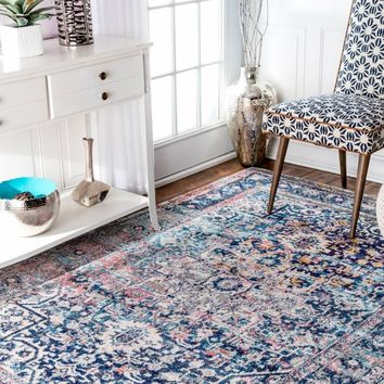 Distressed Arabesque Wool Rug Midnight From West Elm