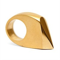 gold geometric teardrop cocktail ring by De Anna Kiernan at Seek  Adore