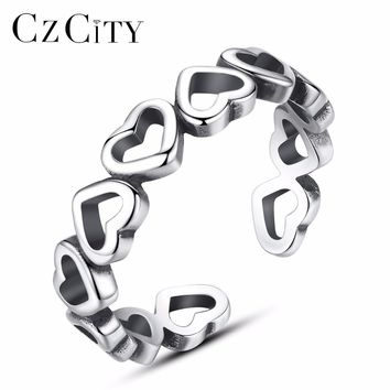 CZCITY Genuine 925 Sterling Silver Stackable Ring Love Shape Finger Rings for Women Wedding Anniversary Jewelry Anel