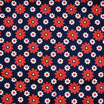 "1960s Vintage Fabric Mod Daisies Red White on Navy Blue 36"" wide"