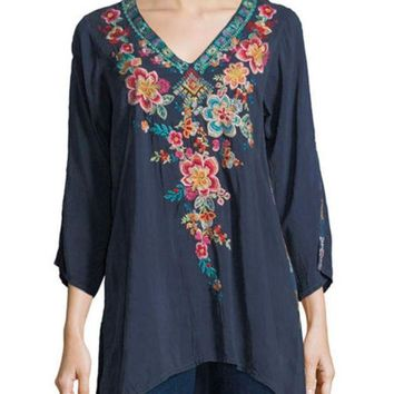 ICIKAB3 Johnny Was Roma Embroidered Tunic Dawn