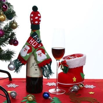 Hat Scarf Wine Hold Bottle Cover Decoration Home Party Christmas Wine Bag Christmas Decoration Supplies Tree /Old Man /Animal