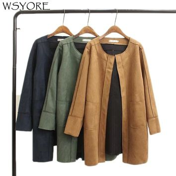 WSYORE Loose Coat 2018 New Autumn and Winter Plus Size Long Sleeve Suede Jackets and Coat Female Outwear Jacket NS367